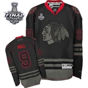 Bobby Hull Jersey Reebok Chicago Blackhawks 9 Black Ice Premier With 2013 Stanley Cup Finals NHL Jersey
