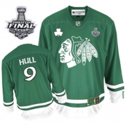 Bobby Hull Jersey Reebok Chicago Blackhawks 9 Premier Green St Pattys Day Man With 2013 Stanley Cup Finals NHL Jersey