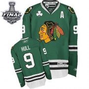 Bobby Hull Jersey Reebok Chicago Blackhawks 9 Premier Green Man With 2013 Stanley Cup Finals NHL Jersey