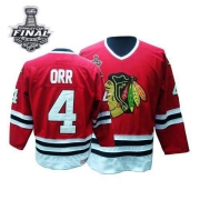 Bobby Orr Jersey CCM Chicago Blackhawks 4 Authentic Red Throwback Man With 2013 Stanley Cup Finals NHL Jersey