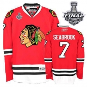 Brent Seabrook Jersey Reebok Chicago Blackhawks 7 Authentic Red Home Man With 2013 Stanley Cup Finals NHL Jersey