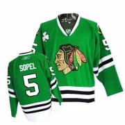 Brent Sopel Jersey Reebok Chicago Blackhawks 5 Authentic Green Man NHL Jersey