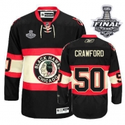 Corey Crawford Jersey Reebok Chicago Blackhawks 50 Black New Third Premier With 2013 Stanley Cup Finals NHL Jersey