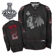 Duncan Keith Jersey Reebok Chicago Blackhawks 2 Black Accelerator Authentic With 2013 Stanley Cup Finals NHL Jersey