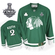 Duncan Keith Jersey Reebok Chicago Blackhawks 2 Premier Green St Pattys Day Man With 2013 Stanley Cup Finals NHL Jersey