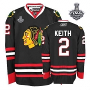 Duncan Keith Jersey Youth Reebok Chicago Blackhawks 2 Premier Black With 2013 Stanley Cup Finals NHL Jersey