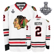 Duncan Keith Jersey Youth Reebok Chicago Blackhawks 2 Premier White With 2013 Stanley Cup Finals NHL Jersey