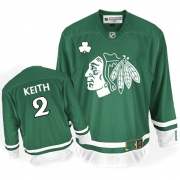 Duncan Keith Jersey Reebok Chicago Blackhawks 2 Authentic Green St Pattys Day Man NHL Jersey