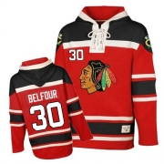 ED Belfour Jersey Old Time Hockey Chicago Blackhawks 30 Red Sawyer Hooded Sweatshirt Premier NHL Jersey