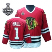 Glean Hall Jersey CCM Chicago Blackhawks 1 Throwback Authentic Red Man With 2013 Stanley Cup Finals NHL Jersey