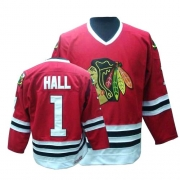 Glean Hall Jersey CCM Chicago Blackhawks 1 Throwback Authentic Red Man NHL Jersey