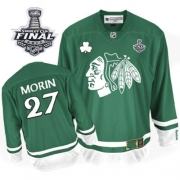 Jeremy Morin Jersey Reebok Chicago Blackhawks 27 Authentic Green St Pattys Day Man With 2013 Stanley Cup Finals NHL Jersey