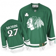 Jeremy Morin Jersey Reebok Chicago Blackhawks 27 Authentic Green St Pattys Day Man NHL Jersey