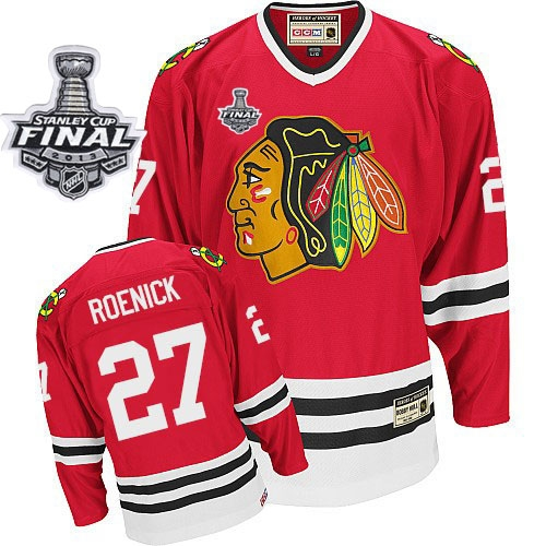Jeremy Roenick Jersey CCM Chicago Blackhawks 27 Red Throwback Authentic With 2013 Stanley Cup Finals NHL Jersey