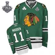 John Madden Jersey Reebok Chicago Blackhawks 11 Premier Green Man With 2013 Stanley Cup Finals NHL Jersey