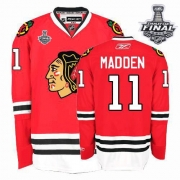 John Madden Jersey Reebok Chicago Blackhawks 11 Authentic Red Home Man With 2013 Stanley Cup Finals NHL Jersey