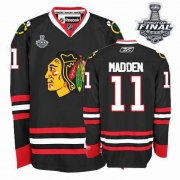 John Madden Jersey Reebok Chicago Blackhawks 11 Authentic Black Man With 2013 Stanley Cup Finals NHL Jersey