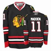 John Madden Jersey Reebok Chicago Blackhawks 11 Authentic Black Man NHL Jersey