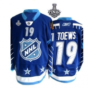Jonathan Toews Jersey Reebok Chicago Blackhawks 19 Authentic Blue With 2013 Stanley Cup Finals NHL Jersey