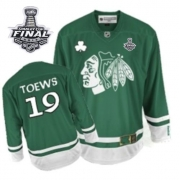 Jonathan Toews Jersey Reebok Chicago Blackhawks 19 Authentic Green St Pattys Day With 2013 Stanley Cup Finals NHL Jersey