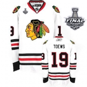 Jonathan Toews Jersey Youth Reebok Chicago Blackhawks 19 Authentic White With 2013 Stanley Cup Finals NHL Jersey