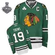 Jonathan Toews Jersey Youth Reebok Chicago Blackhawks 19 Authentic Green With 2013 Stanley Cup Finals NHL Jersey
