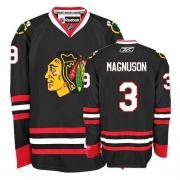 Keith Magnuson Jersey Reebok Chicago Blackhawks 3 Premier Black Man NHL Jersey