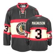 Keith Magnuson Jersey Reebok Chicago Blackhawks 3 Authentic Black New Third Man NHL Jersey