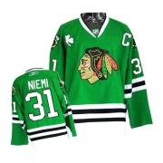Antti Niemi Jersey Reebok Chicago Blackhawks 31 Premier Green Man NHL Jersey