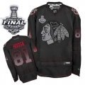 Marian Hossa Jersey Reebok Chicago Blackhawks 81 Black Accelerator Premier With 2013 Stanley Cup Finals NHL Jersey