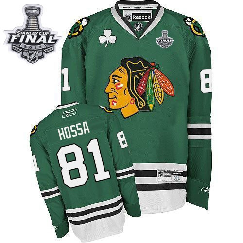 Marian Hossa Jersey Reebok Chicago Blackhawks 81 Authentic Green Man With 2013 Stanley Cup Finals NHL Jersey