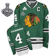 Niklas Hjalmarsson Jersey Reebok Chicago Blackhawks 4 Green Authentic With 2013 Stanley Cup Finals NHL Jersey