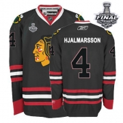 Niklas Hjalmarsson Jersey Reebok Chicago Blackhawks 4 Black Premier With 2013 Stanley Cup Finals NHL Jersey
