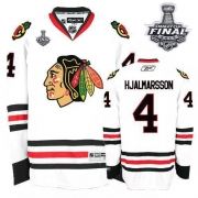 Niklas Hjalmarsson Jersey Reebok Chicago Blackhawks 4 Premier White Man With 2013 Stanley Cup Finals NHL Jersey