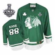 Patrick Kane Jersey Reebok Chicago Blackhawks 88 Authentic Green St Pattys Day With 2013 Stanley Cup Finals NHL Jersey