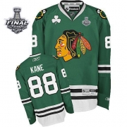 Patrick Kane Jersey Youth Reebok Chicago Blackhawks 88 Premier Green With 2013 Stanley Cup Finals NHL Jersey