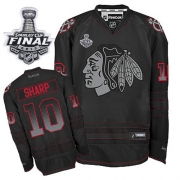 Patrick Sharp Jersey Reebok Chicago Blackhawks 10 Black Accelerator Premier With 2013 Stanley Cup Finals NHL Jersey