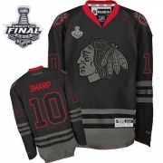 Patrick Sharp Jersey Reebok Chicago Blackhawks 10 Black Ice Premier With 2013 Stanley Cup Finals NHL Jersey