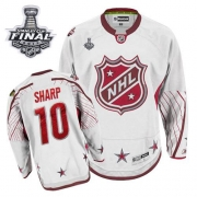 Patrick Sharp Jersey Reebok Chicago Blackhawks 10 Authentic White With 2013 Stanley Cup Finals NHL Jersey