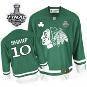 Patrick Sharp Jersey Reebok Chicago Blackhawks 10 Premier Green St Pattys Day Man With 2013 Stanley Cup Finals NHL Jersey