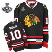 Patrick Sharp Jersey Youth Reebok Chicago Blackhawks 10 Premier Black With 2013 Stanley Cup Finals NHL Jersey