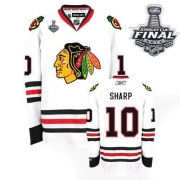 Patrick Sharp Jersey Reebok Chicago Blackhawks 10 Premier White Man With 2013 Stanley Cup Finals NHL Jersey