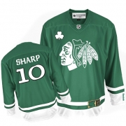 Patrick Sharp Jersey Reebok Chicago Blackhawks 10 Premier Green St Pattys Day Man NHL Jersey