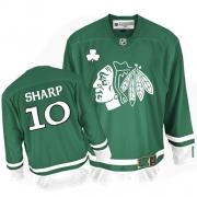 Patrick Sharp Jersey Reebok Chicago Blackhawks 10 Authentic Green St Pattys Day Man NHL Jersey