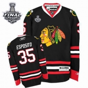 Tony Esposito Jersey Reebok Chicago Blackhawks 35 Premier Black Man With 2013 Stanley Cup Finals NHL Jersey