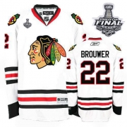 Troy Brouwer Jersey Reebok Chicago Blackhawks 22 Premier White Man With 2013 Stanley Cup Finals NHL Jersey